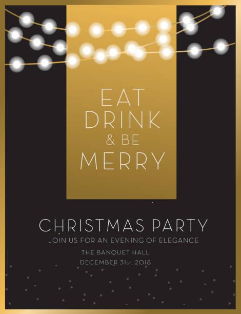 illustrazioni stock, clip art, cartoni animati e icone di tendenza di christmas party invitation design template - invito