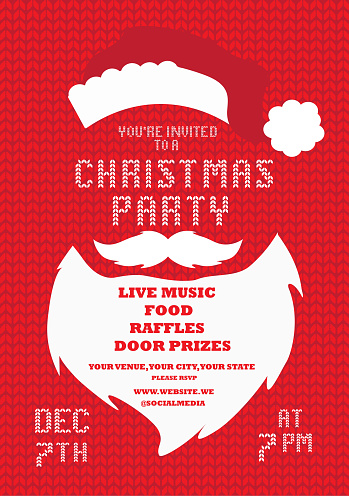 Christmas Party Invitation design template with Santa Claus Beard and mustache on a knitted background