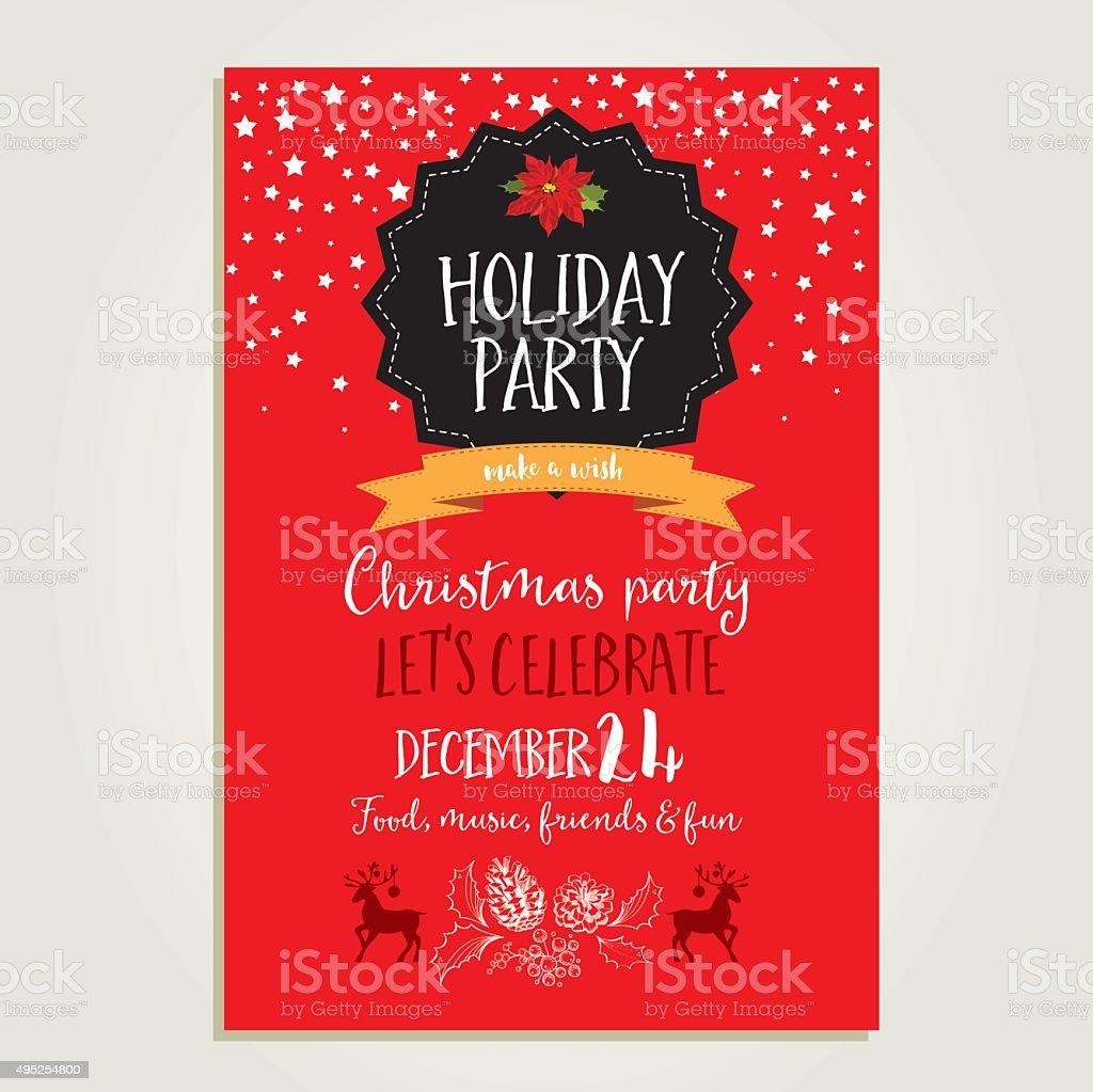 party di Natale invito. Carta vacanze. - arte vettoriale royalty-free di Babbo Natale