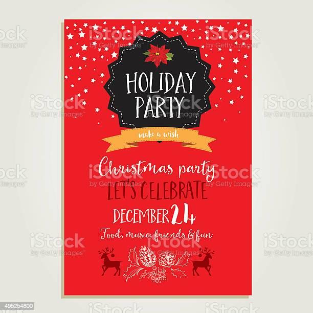 Party Di Natale Invito Carta Vacanze - Immagini vettoriali stock e altre immagini di Babbo Natale