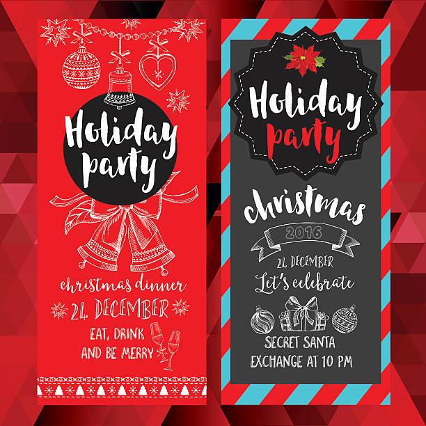 illustrazioni stock, clip art, cartoni animati e icone di tendenza di party di natale invito. carta vacanze. - pranzo di natale