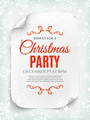 Christmas party invitation poster, flyer or brochure template on winter background. Curved, paper banner, scroll. Vector illustration.