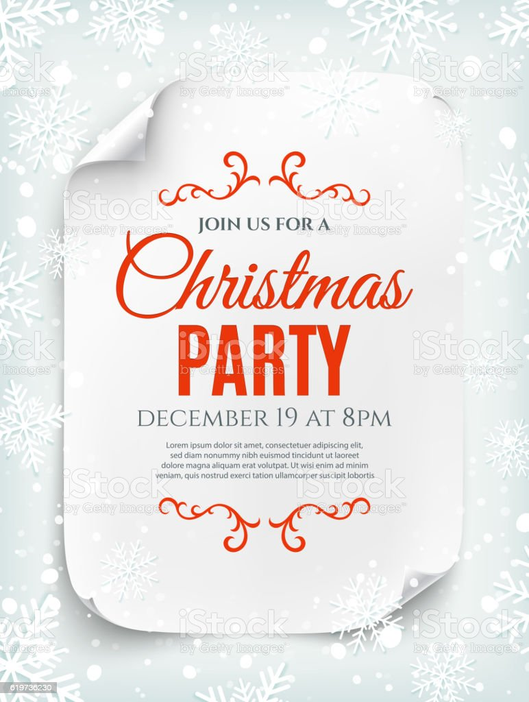 Christmas party invitation poster on winter background. - Illustration vectorielle