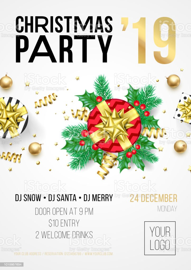 Christmas Party Invitation Poster Or Card For 2019 Happy New Year ...
