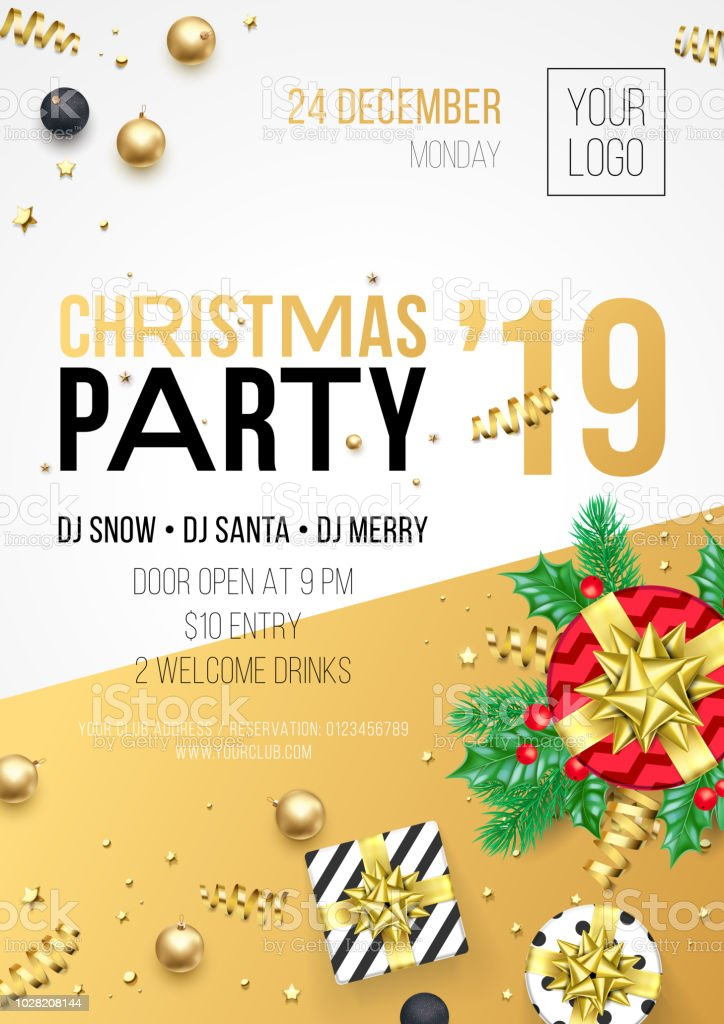 christmas party invitation poster or card for 2019 happy new year holiday celebration vector new