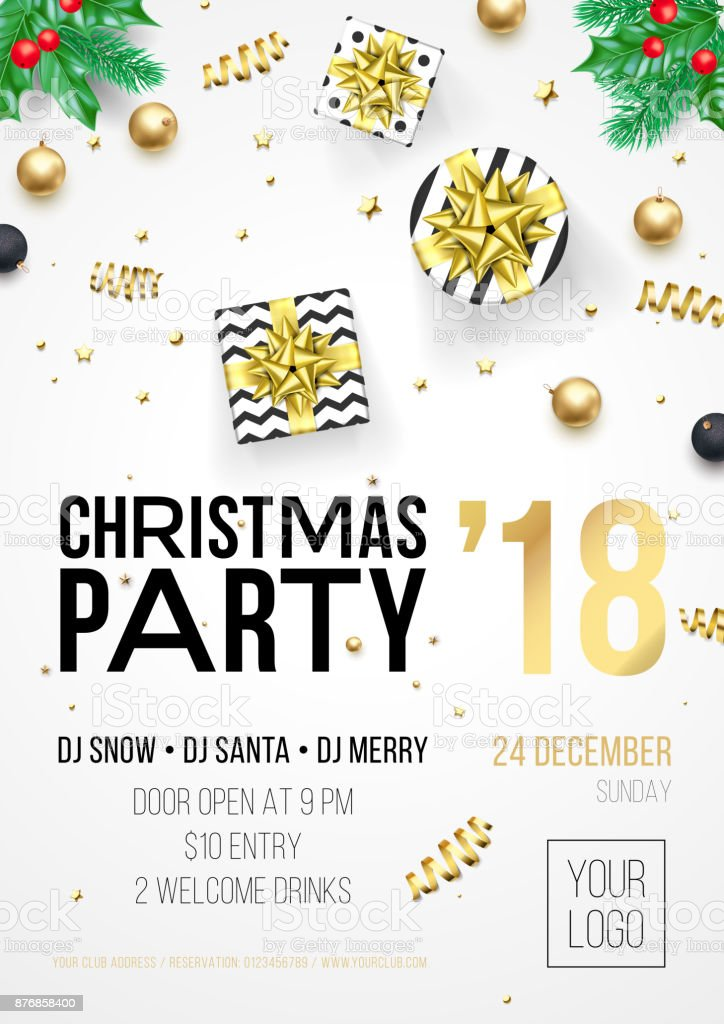 christmas party invitation poster or december winter holiday