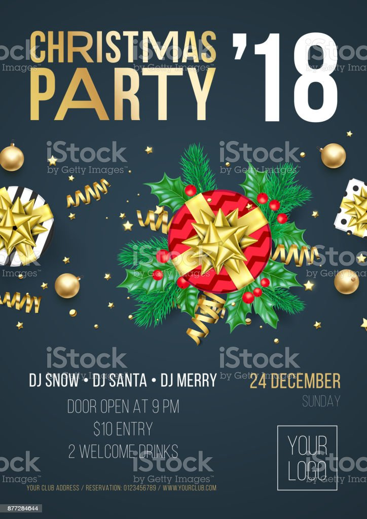 Christmas Party Invitation Poster Or Welcome Banner Design Template