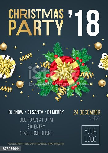 2018 877284644 christmas party invitation poster or welcome banner design template of golden christmas gift presents and decoration