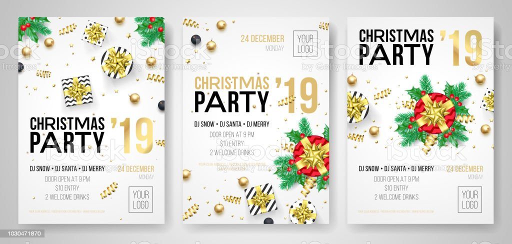 Christmas Party Invitation Posters Or Flyers For 2019 New Year