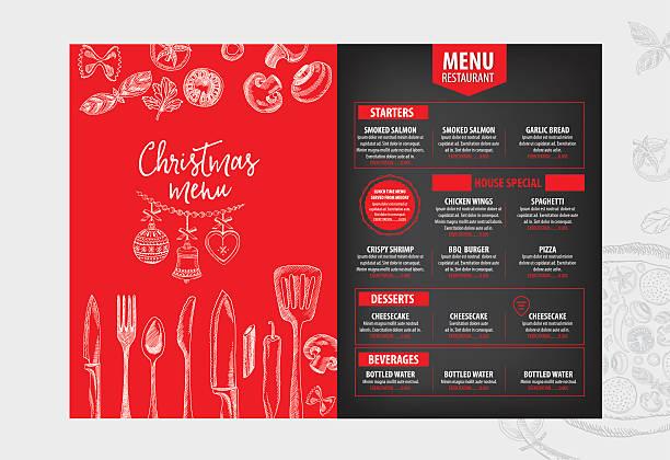 illustrazioni stock, clip art, cartoni animati e icone di tendenza di party di natale invito ristorante. cibo flyer. - pranzo natale