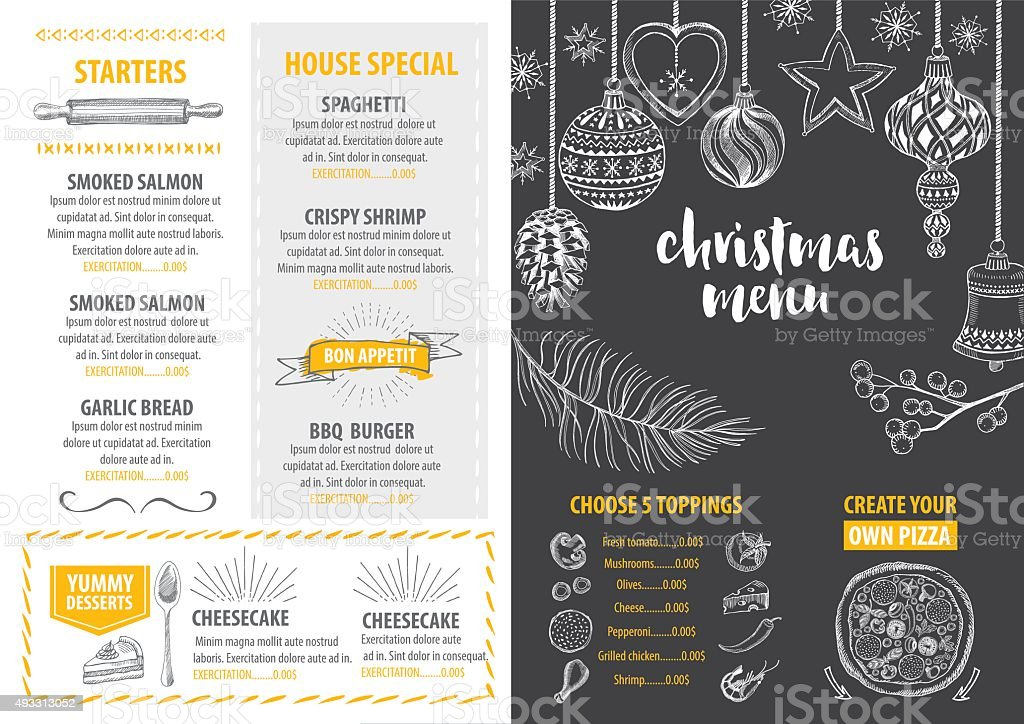 Christmas party invitation restaurant. Food flyer. vector art illustration