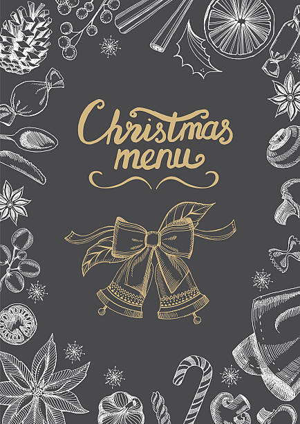 illustrazioni stock, clip art, cartoni animati e icone di tendenza di christmas party invitation restaurant. food menu. - pranzo di natale