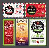 Vector christmas restaurant brochure, menu template. Vector holiday background and design banner. Happy New Year party flyer with hand-drawn xmas graphic.