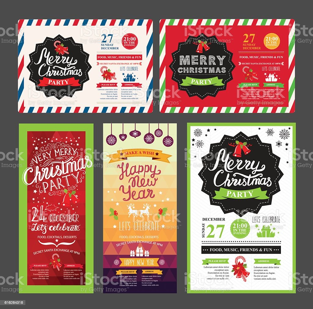 Christmas party invitation restaurant. Food menu. vector art illustration