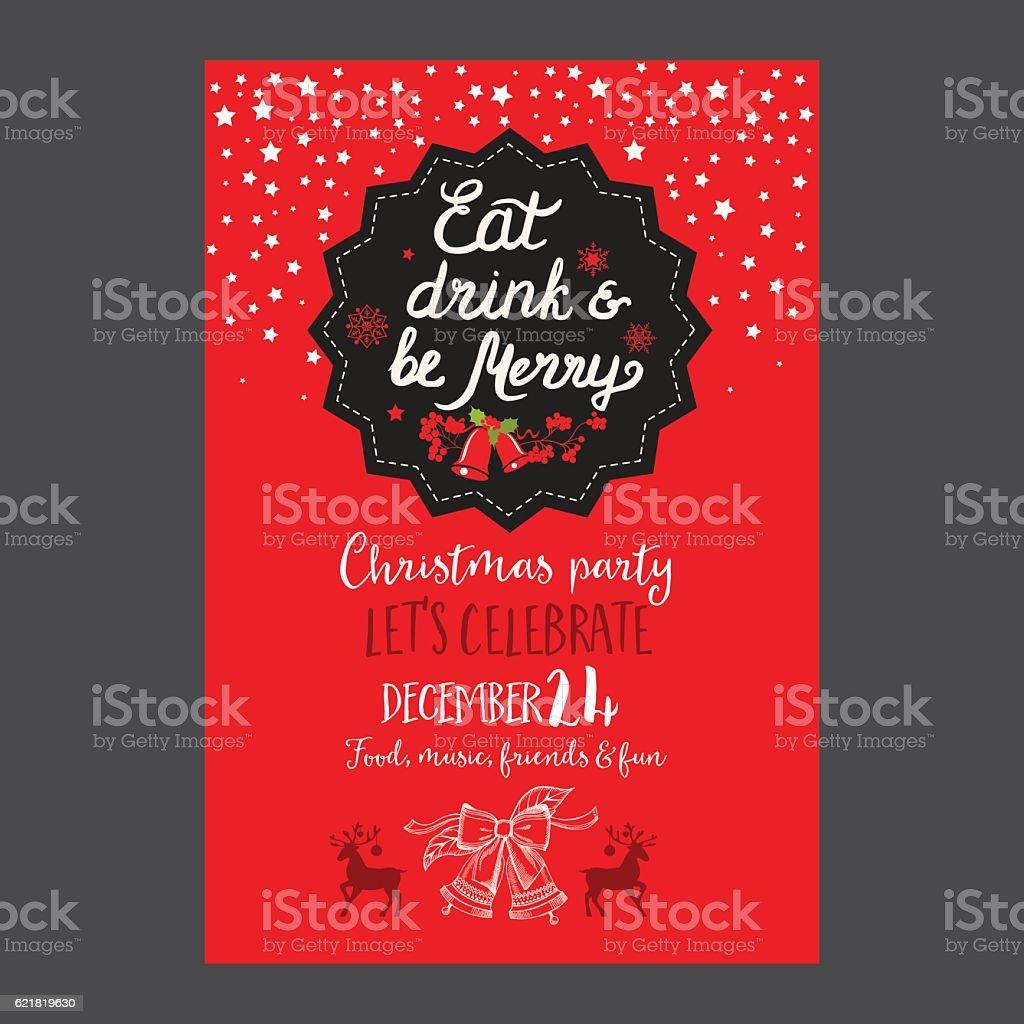 Christmas party invitation restaurant. Food menu. vector art illustration