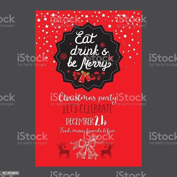 Christmas Party Invitation Restaurant Food Menu - Immagini vettoriali stock e altre immagini di Bibita