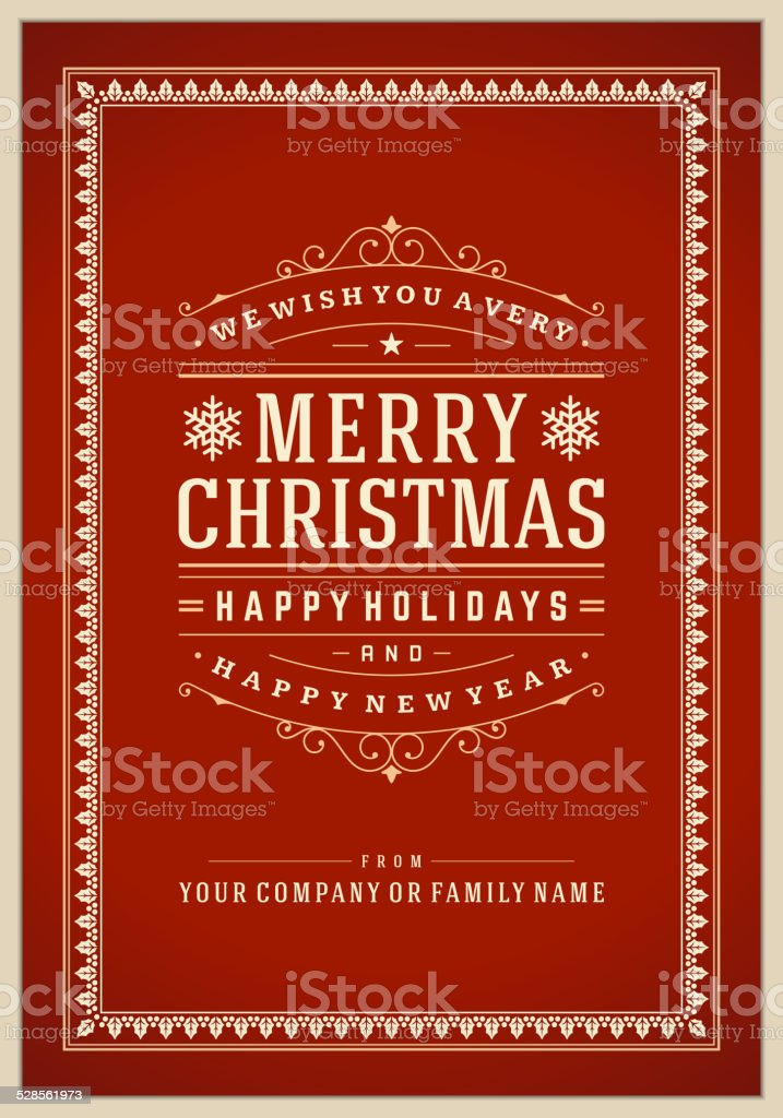 Christmas Party Invitation Retro Typography And Ornament stock ...