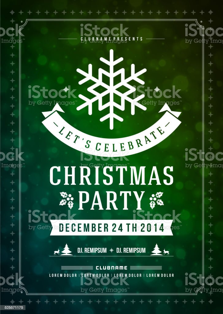 Christmas Party Invitation Retro Vector Poster Or Flyer Template ...