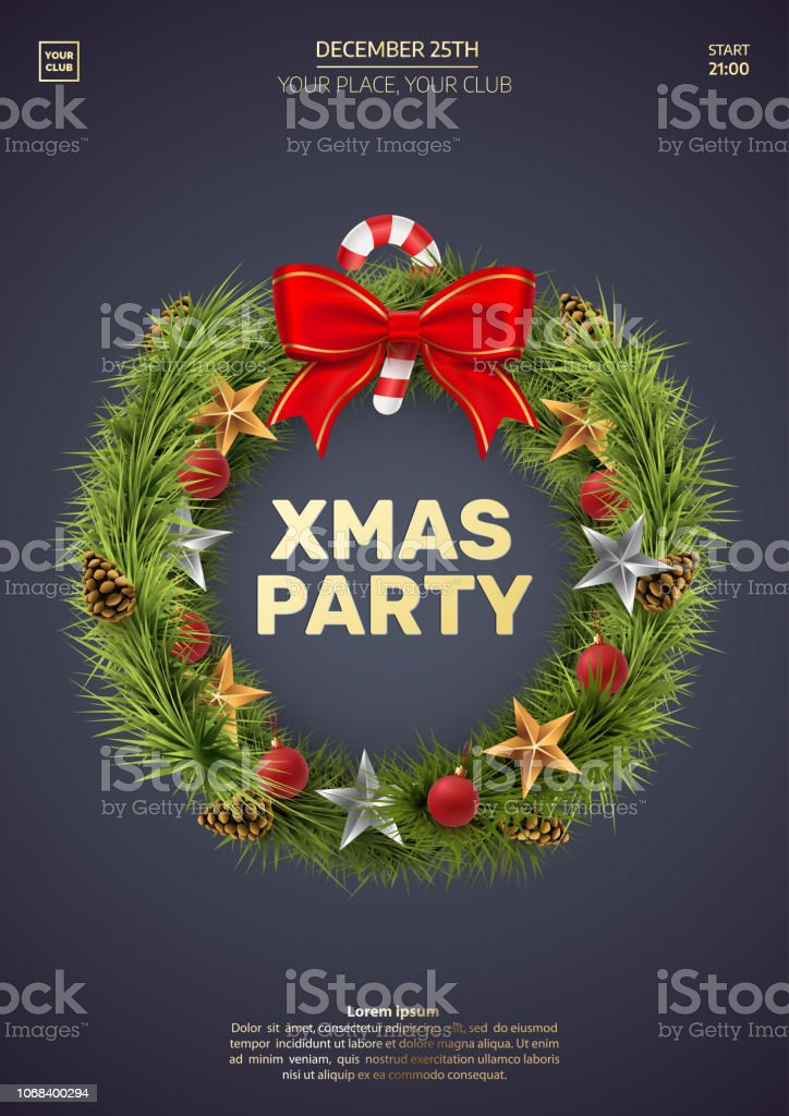 Christmas Party Invitation Template Wreath Isolated On