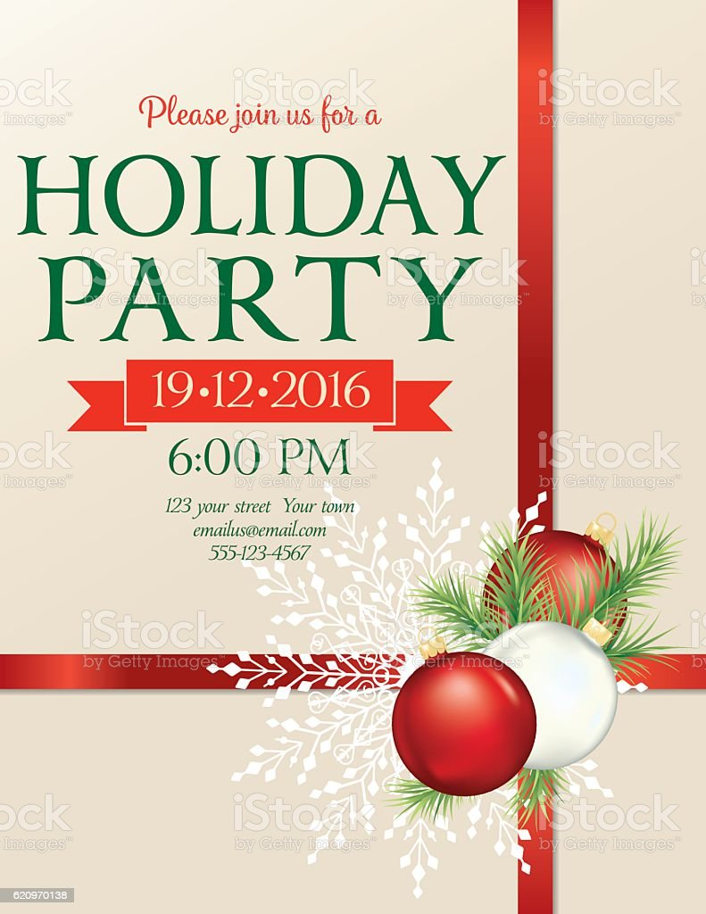 Christmas Party Invitation Template With Bow And Snowflakes And ...