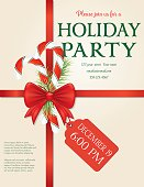 Christmas Party Invitation Template With Bow and Snowflakes and Ribbon