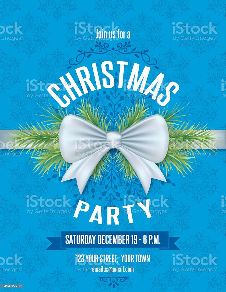 christmas party invitation template with bow snowflakes and