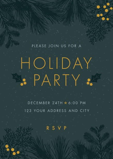 christmas party invitation. - holiday stock illustrations, clip art, cartoons, & icons