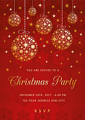 Christmas party invitation with golden balls - Illustration