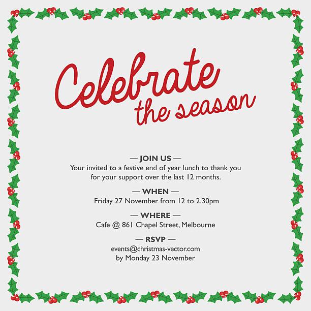 christmas party invitation with holly border. - 休日/季節ごとのイベント点のイラスト素材/クリップアート素材/マンガ素材/アイコン素材