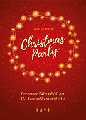 Christmas party invitation with Lights Wreath. - Illustration