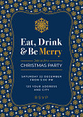 Christmas party invitation with Snowflake Pattern. - Illustration