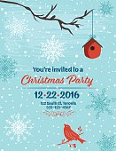 Christmas Party Invitation with snowflakes, birdhouse,bird,  and branche
