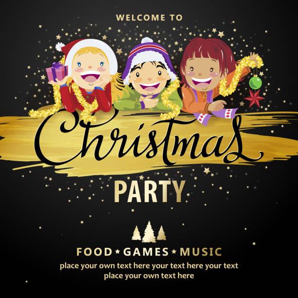 bildbanksillustrationer, clip art samt tecknat material och ikoner med christmas party kids inbjudningar - parad