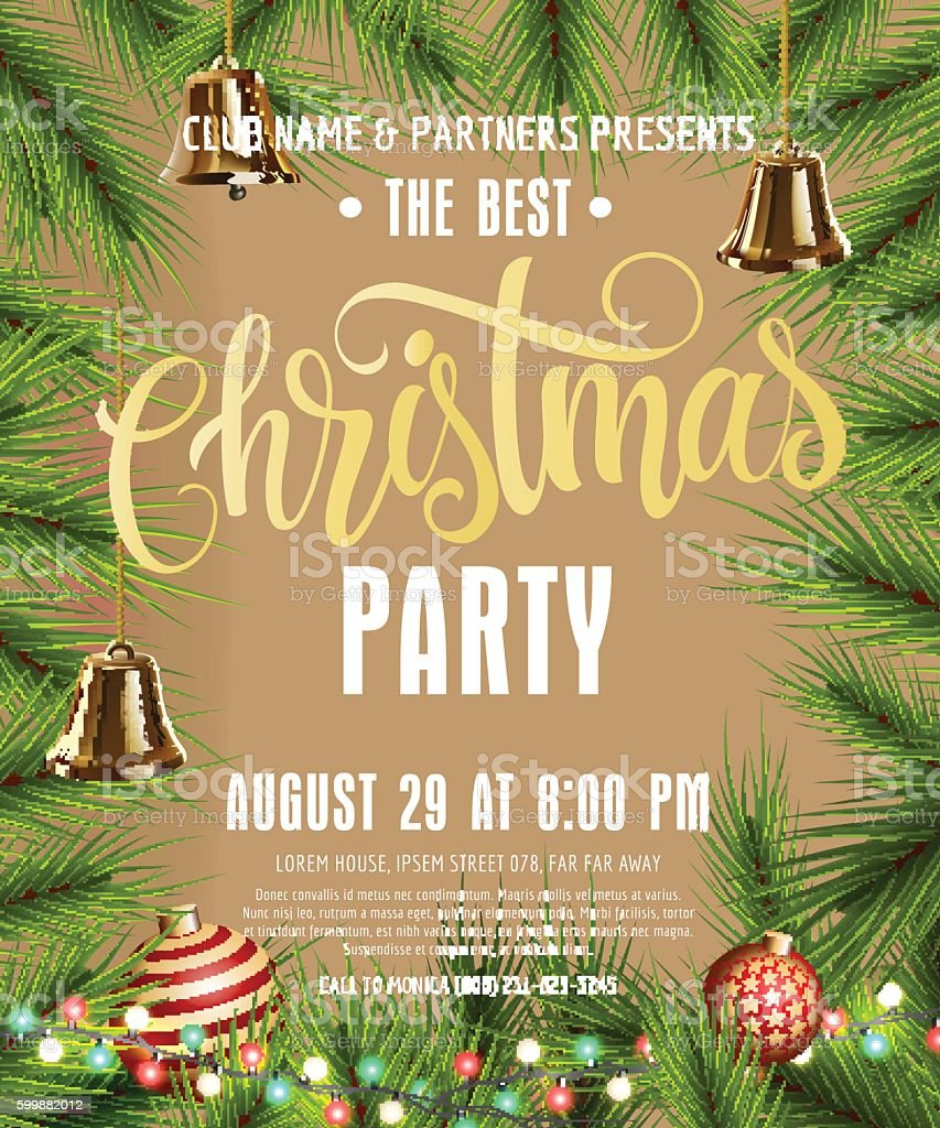 Christmas Party Lettering vector art illustration