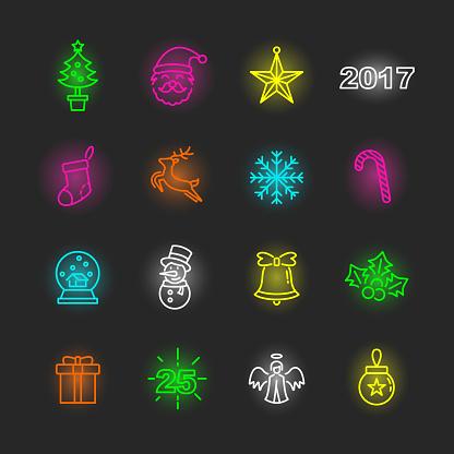 christmas party neon icon set