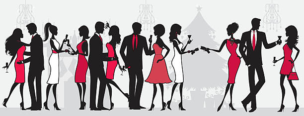 christmas party people - womens fashion stock illustrations