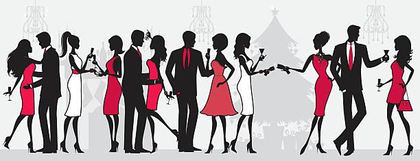 ilustraciones, imágenes clip art, dibujos animados e iconos de stock de personas en una fiesta de navidad - moda de hombre