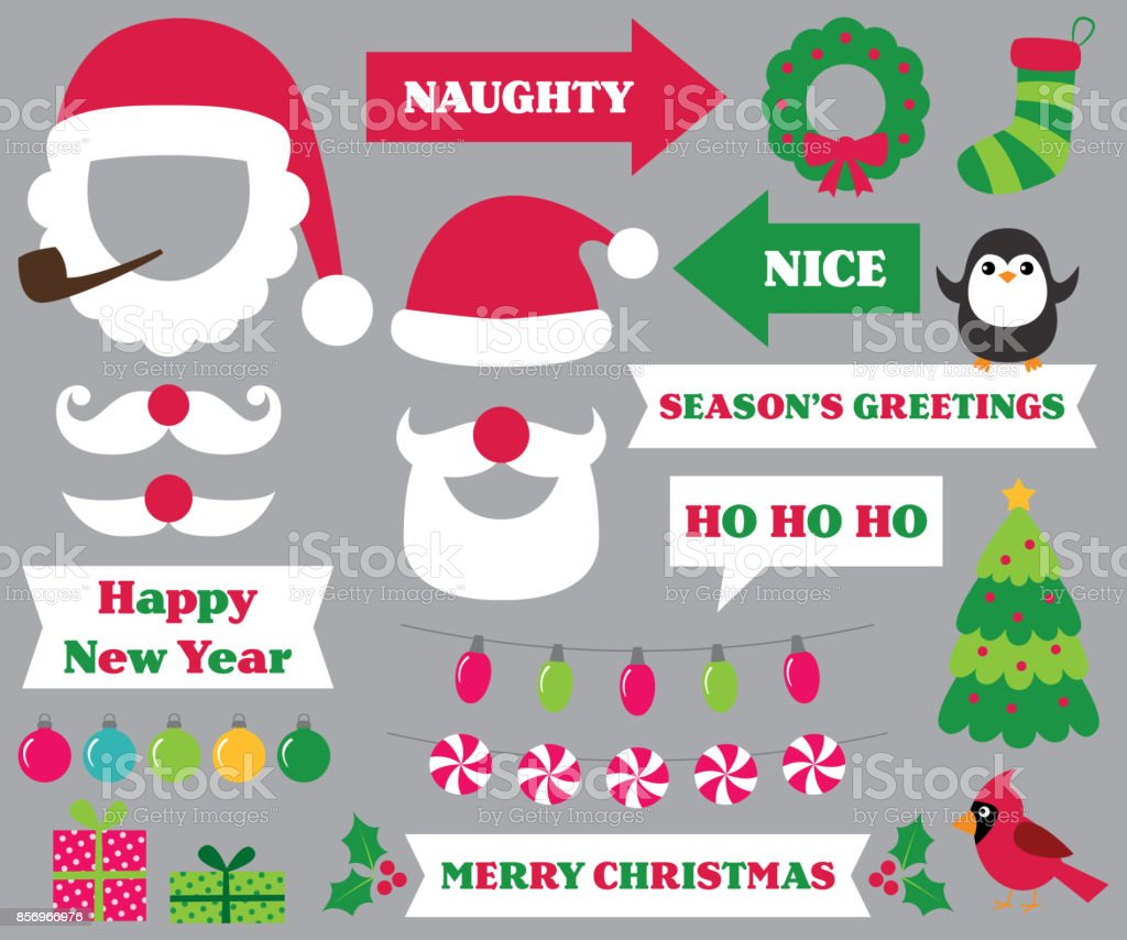 Christmas party photo booth props vector art illustration
