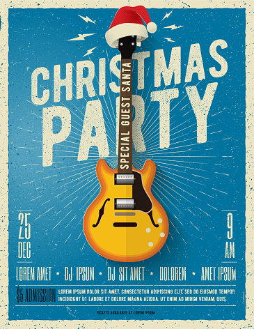 Christmas party poster or flyer design template with electric guitar with red santa hat on blue background. Vector illustration.
