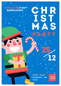 Christmas party poster template design. Xmas flyer in funny cart
