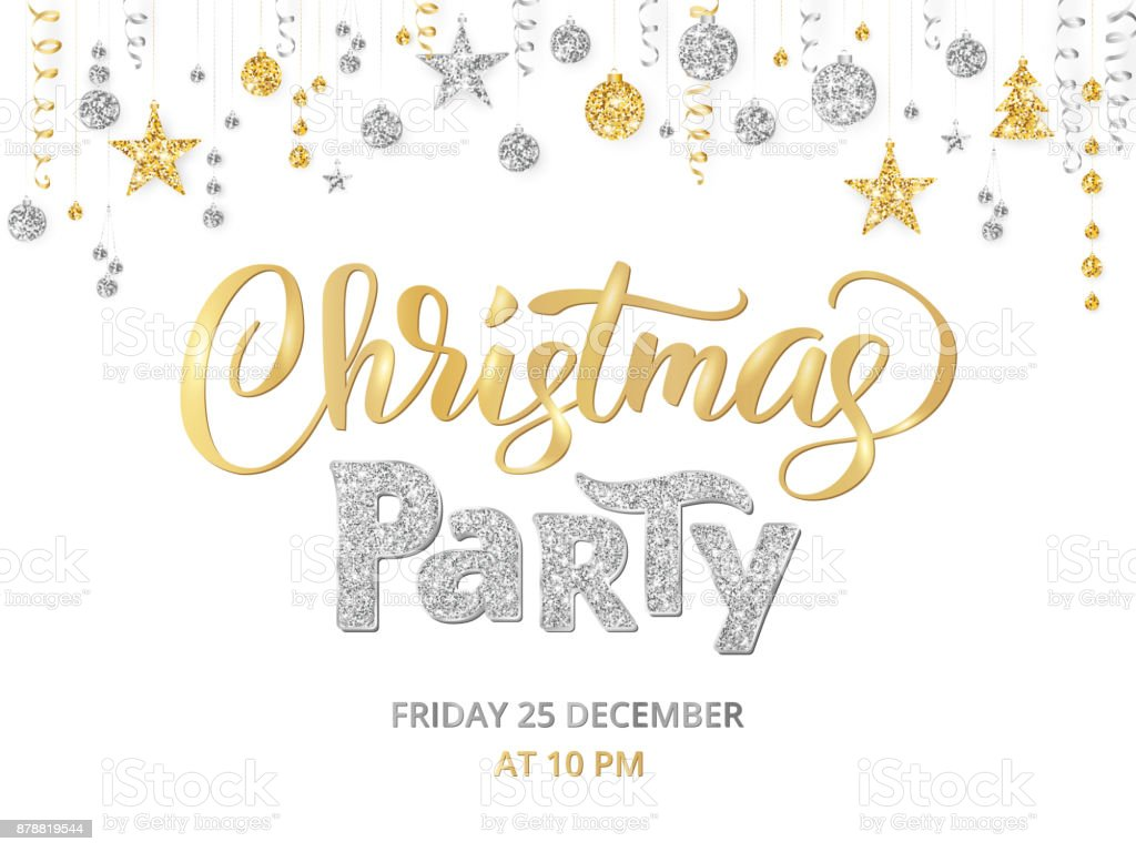 christmas party poster template gold and silver on white