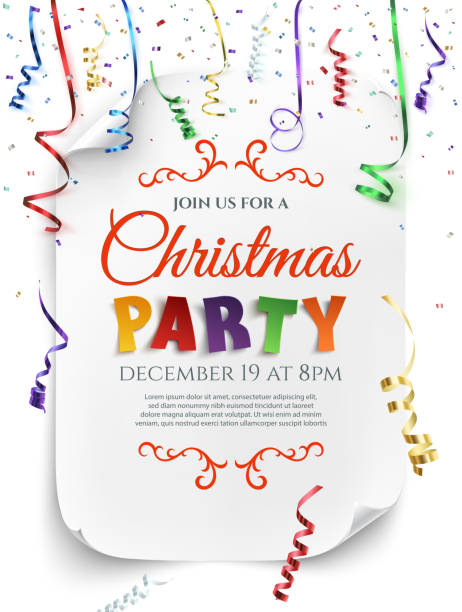 christmas party poster template. - parties stock illustrations, clip art, cartoons, & icons