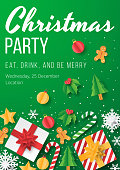 Christmas party poster template with christmas element on green background. Papercut style. Vector illustrator