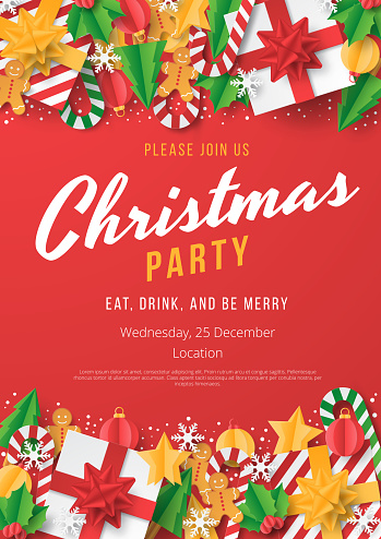 Christmas party poster template with christmas element on red background. Papercut style.