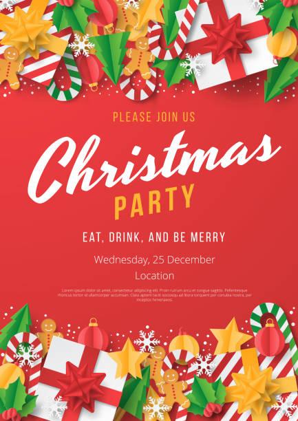 聖誕派對海報範本與紅色背景的聖誕元素。剪紙風格。 - merry christmas 幅插畫檔、美工圖案、卡通及圖標
