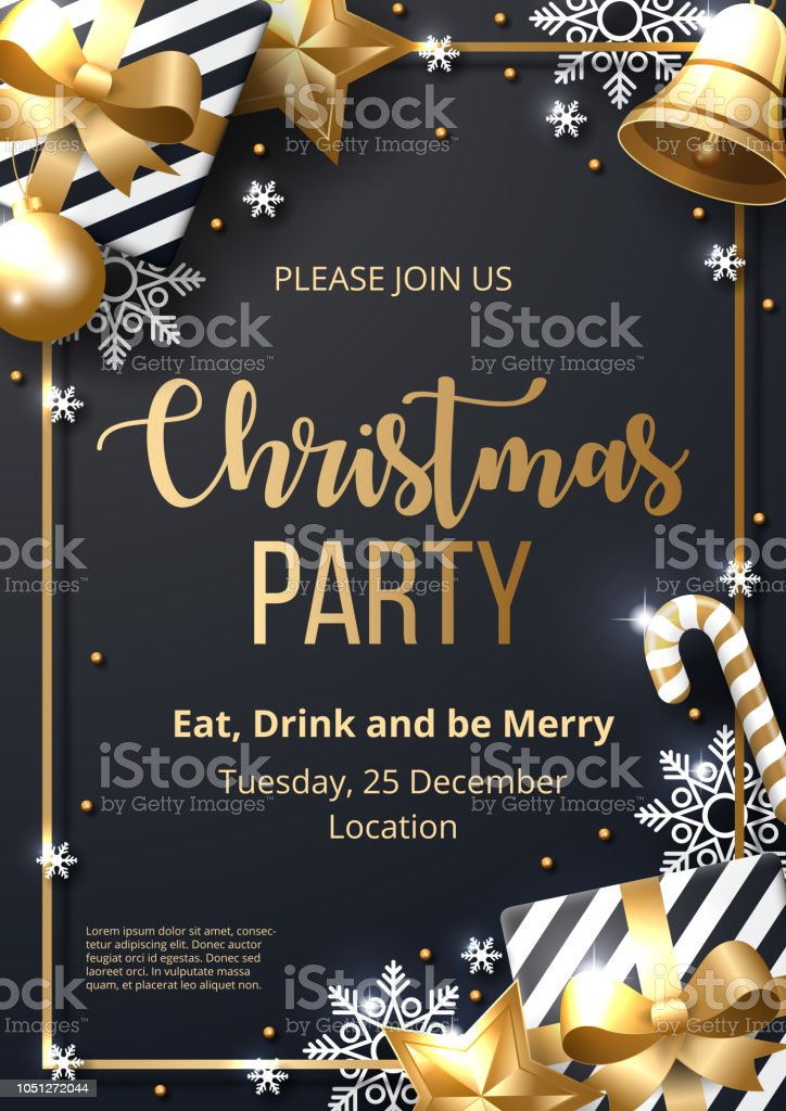 Christmas Party Poster.Christmas Party Poster Template With Shining Gold And White Ornaments Made Of Snowflakes Gift Candy Bells Star Christmas Ball Stock Illustration