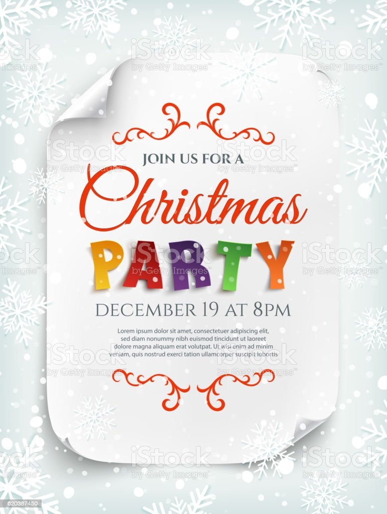 christmas party poster template with snow and snowflakes お祝いの