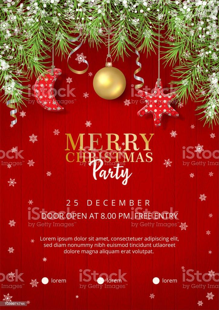 Christmas Party Poster.Christmas Party Poster Stock Illustration Download Image Now