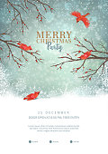 Christmas party poster with typography lettering. Vector winter landscape. Frosty tree and red birds