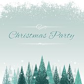 Christmas design with trees and snow for a party poster.